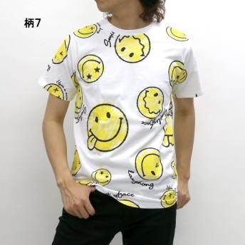 Tシャツ - MARUKAWA Tシャツ メンズ 夏 スマイル プリント 半袖 ホワイト/ブラック M/L/LL【 ティーシャツ SMILE スマイリーアメカジかわいい】