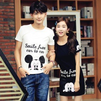 ミッキーtシャツワンピ ペアルックカップルtシャツ ペアtシャツ 半袖tシャツ 男性tシャツ♪女性ワンピース♪韓国風♪カップルお揃い♪部屋着♪ペア服♪メンズTシャツ♪レディース