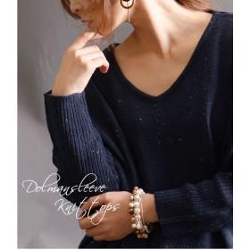 ニット・セーター - GOLDJAPAN 大きいサイズ専門店 首元すっきり女性らしさも叶うVネックドルマンニット♪ 大きいサイズ レディース トップス ニット セーター 長袖ニット ニットトップスドルマンニット ドルマン ニットソー Vネック ポケット付き L LL 2L 3L