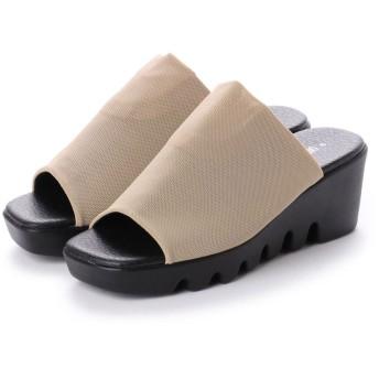 イタリコ ITALICO 日本製 楽ちんふかふか 波型 厚ソール ストレッチ素材 コンフォートサンダル (ベージュ)