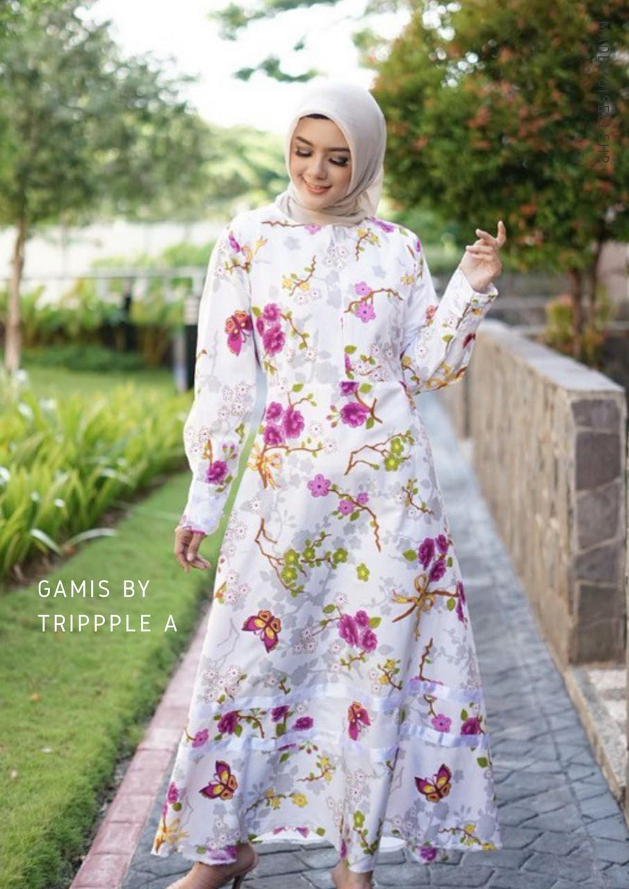 Mademoisellshp Shop Line Brukat Maxi Dress Lebaran Outfit Gamis Panjang Jepang