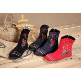 レディースシューズ チャイナ靴手作り北京布靴エスニックチャイナシューズカジュアル民族風 蝴蝶花刺繍 ミュール婦人ハイヒール短靴