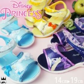 ディズニー プリンセス Disney ベビー キッズ 女の子 スポーツサンダル DN C1214 ネイビー サックス イエロー ラプンツェル シンデレラ