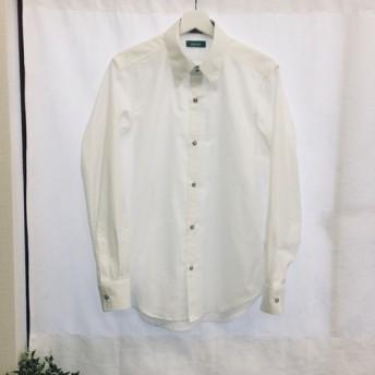 【ハンドメイドシャツ】オーガニックコットンシャツ 花柄ホワイト Lサイズ スナップボタン 長袖