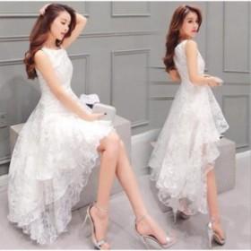 パーティー ドレス 結婚式 ワンピースドレス 白ワンピース ロング パーティー フレア Aラインワンピース オーガンジー 女子会ap255