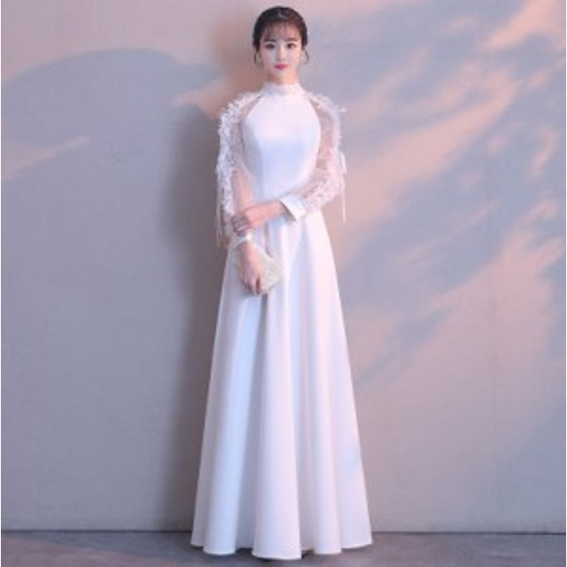 dd0a212276799 ロングドレス 演奏会 パーティードレス ロング ドレス ホワイト 結婚式 発表会 大きいサイズ フォーマル