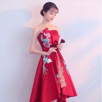 ロング丈ドレス 不規則ネック&裾幅 セクシー演奏会 刺繍パーティー肩だしドレス 結婚式 発表会 フォーマル ゆったり