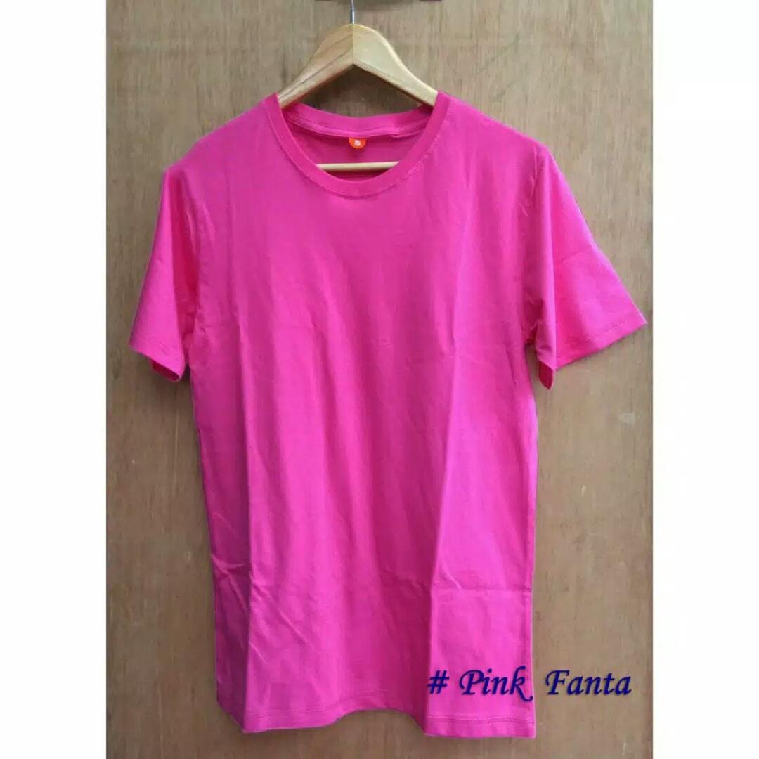 Kaos Polos Premium Shop Line Maroon Solid Pink Fanta