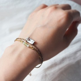 4つの爪ジルコン自然の宝石グリーンストーンダブルブラスブレスレット真鍮リングライトジュエリー半貴石B11