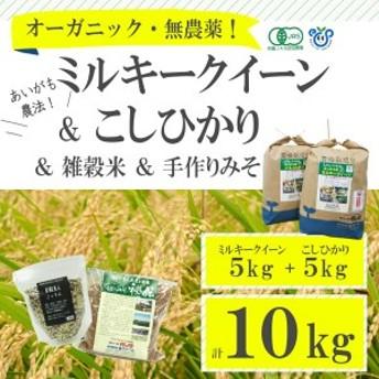 食べ比べ!無農薬米こしひかりとミルキークイーン計10kg+雑穀米・手造りみそのセット【お中元・お歳暮にも!】