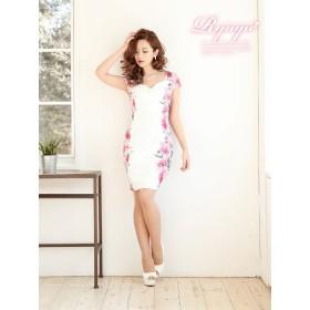 ドレス - Ryuyu キャバ ドレス ドレス キャバ キャバドレス キャバクラ ミニドレス パーティードレス Ryuyu 花柄 袖付き タイト 膝丈小さいサイズ ラウンジドレス セクシードレス