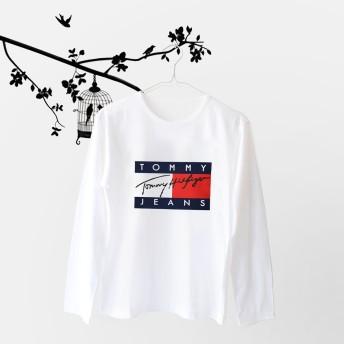 Tumblr Tee / T-Shirt / Kaos Wanita Lengan Panjang Tommy Warna Putih: Rp40.000 Rp28.000