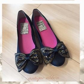 NEW【21 26cm】アンティーク柄リボン柔らかぺたんこ靴♪