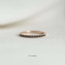 フレンチパヴェブラックダイヤモンドリング(14k ゴールド)