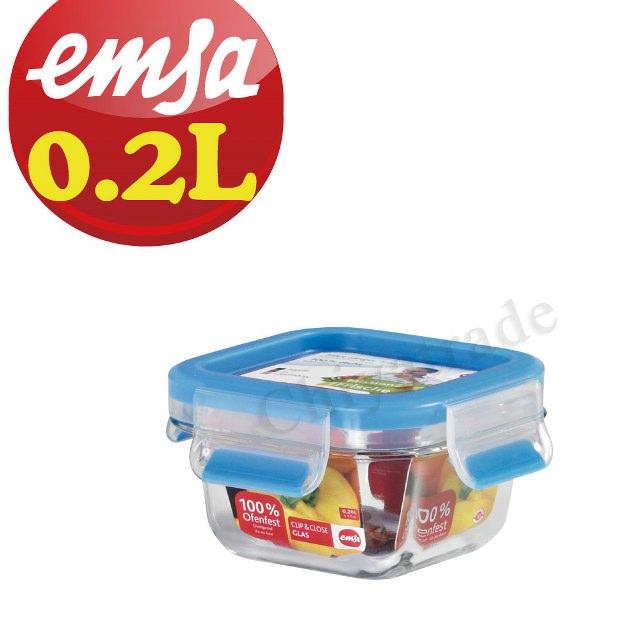 【德國EMSA】專利上蓋無縫頂級 玻璃保鮮盒德國原裝進口(保固30年) (0.2L)