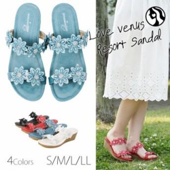 【送料無料】Love venus マシュマロフィット キラキラ サンダル ミュール レディース 歩きやすい 靴 おしゃれ 軽量 かわいい ビーチサン