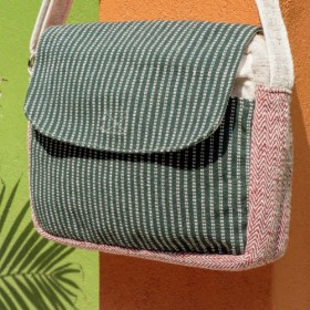 ナチュラルコットン&リネン手織り布袋/メッセンジャーバッグ/サイドバックパック/ショルダーバッグ/トラベルバッグ/トートバッグ/