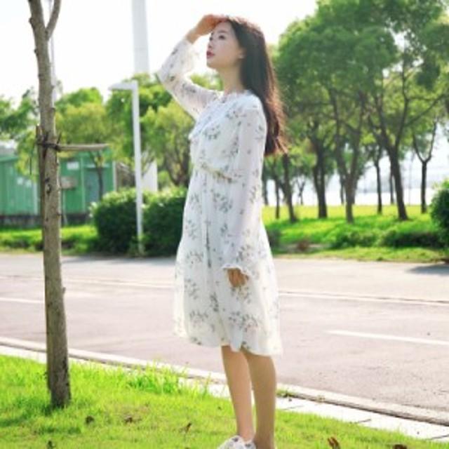 韓国 オルチャン  長袖 ワンピース 花柄 シフォン 可愛い 袖コンシャス ワンピース フリル