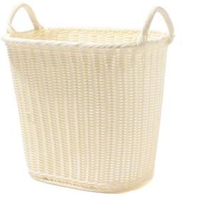 編み込みランドリーバスケット ホワイト L ホームコーディ 洗濯用品