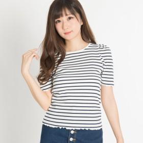 Tシャツ - WEGO【WOMEN】 ボーダーパワーショルダーTシャツ BR18SM04-L040