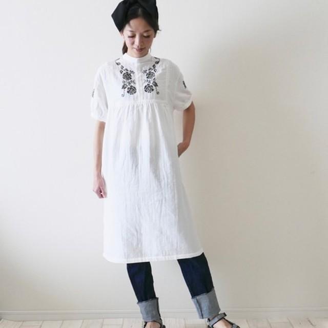 モリノガッコウ コットン刺繍エスニックワンピース【ホワイト】/5587617/