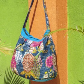 ナチュラルコットン刺繍メッセンジャーバッグ/バックパック/サイドバックパック/ショルダーバッグ/旅行バッグ/手縫いガーゼサイドバ