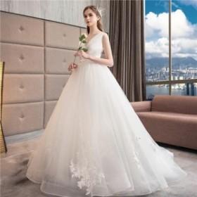 ウェディングドレス 二次会 Vネック ウエディングドレス ロング 厚サテン 二次会ドレス パーティードレス 刺繍 ロングドレス