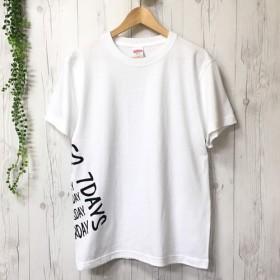 24/7ロゴサイドプリント メンズTシャツ(ホワイト)/レディース 大きいサイズ 白t 秋