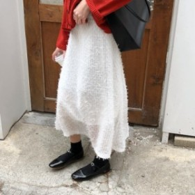 フェミニンなロングフェザースカート