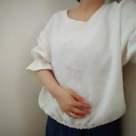ぷっくりかわいいリネンのキャンディスリーブブラウス☆リネン100%☆生成☆クリーム色