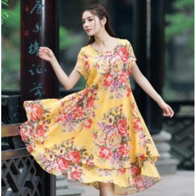カラー豊富で華やか☆夏らしい爽やかな花柄ロングワンピース