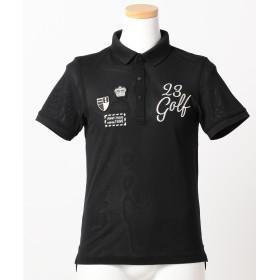 【オンワード】 23区GOLF(ニジュウサンク ゴルフ) 【JUNIOR / BOY】【吸水速乾】ストレッチメッシュ ポロシャツ ブラック S メンズ 【送料無料】