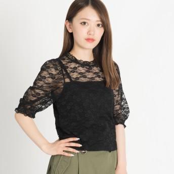 Tシャツ - WEGO【WOMEN】 パフスリーブレース5分袖Tシャツ BS18SM04-L020
