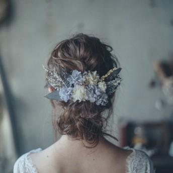 // 薄紫あじさいとウォッシュブルーのデルフィニュームヘッドドレス // おしゃれ結婚式の髪飾りに //