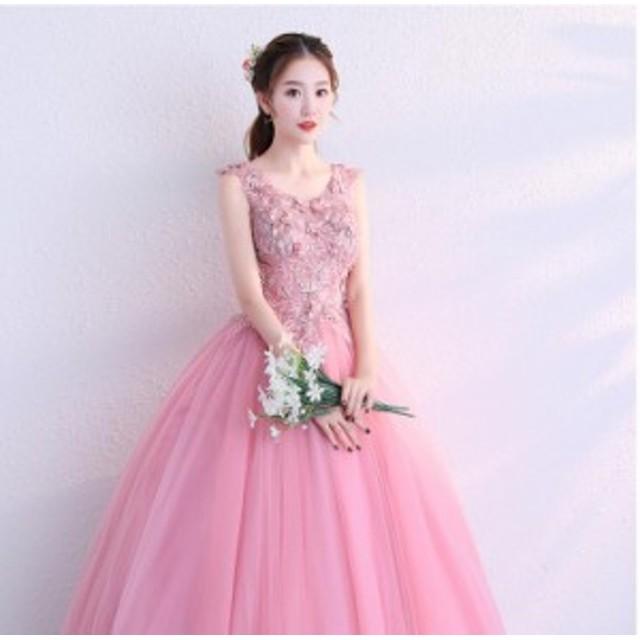 二次会 ウエディングドレス ロング 二次会ドレス パーティードレス ロングドレス 花嫁ドレス カラードレス 大きいサイズ 結婚式