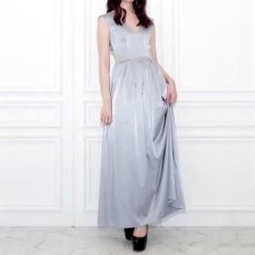 SALE - ブルーグレーサテンドレス