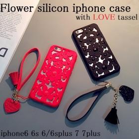 iphoneケース iphone8 8plus iphoneX 7 7plus 6s 6 6splus 6plus スマホケース 韓国 花柄 シリコン ソフト フラワー ストラップ付き タッセル