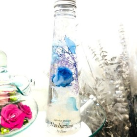 水色薔薇 インテリア ハーバリウム メッセージ名入れ可能 プレゼントにも creema限定