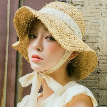 【小顔効果抜群!】UVカット 紫外線対策 麦わら帽子 レディースハット パナマ帽 クラシカル バックスタイル ツバ広麦わら帽子 ストローハット 中折れハット リボン付帽子 女優帽
