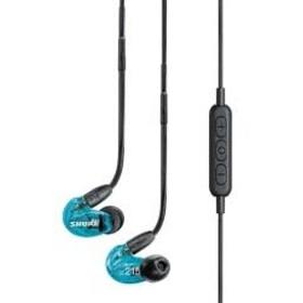 ブルートゥースイヤホン 耳かけカナル型(トランスルーセントブルー)SE215SPE-B-BT1A[マイク付][リケーブル対応]