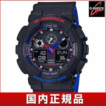 G-SHOCK Gショック CASIO カシオ GA-100LT-1AJF アナログ デジタル メンズ 腕時計 国内正規品 黒 ブラック 赤 レッド 青 ブルー ウレタン