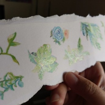 花の髪の女の子 マスキングテープ 植物