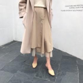 プリーツチュール付き ロングスカート S/M《2colors》