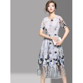 マキシワンピース ロングドレス 韓国ワンピース パーティードレス 花柄刺繍 結婚式 食事会 ディナー お呼ばれ シースルー エレガント