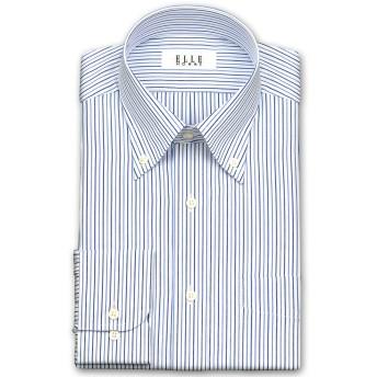 ワイシャツ - ワイシャツの山喜 ELLE HOMME 長袖 ワイシャツ メンズ 春夏秋 形態安定 吸水速乾 オルタネイトストライプボタンダウンシャツ綿/ポリエステルブルー(zed414-450)