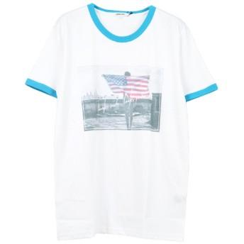 Tシャツ - Style Block MEN Tシャツ カットソー クルーネック 半袖 フォトプリント ガールズフォト リンガーTシャツ アメカジ トップス メンズ ブルーネイビー レッド 夏先行