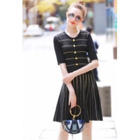 半袖 ニット プリーツ ブラック ワンピース ドレス パーティ リゾート 二次会 きれいめ 20代 30代40代 大きい キャバワンピ