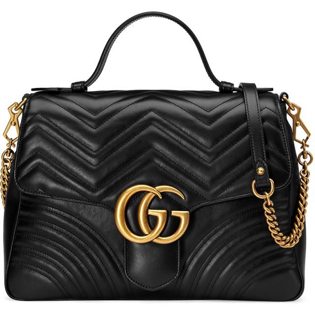 4b67bf8b0168 Gucci GGマーモント トップハンドル ショルダーバッグ M - ブラック 通販 ...