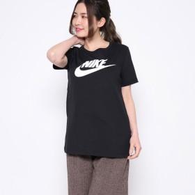【ピーシーティーP・C・T】ナイキ NIKE コットン100% 鮮やか4カラー♪スウォッシュロゴジャスト丈Tシャツ/ ウィメンズ ロゴ Tシャツ (BLACK)