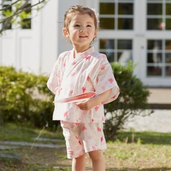 ミキハウス うさこ 麻の葉とちょうちょ柄甚平スーツ ピンク